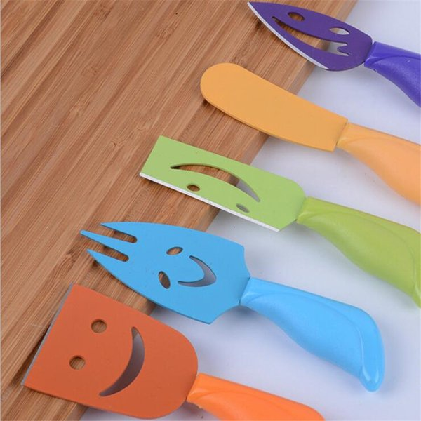 5Pcs/Set Stainless Steel Smile Cheese Knife Set Cheese Fork Butter Knife Cheese Cutter Kitchen Tool Cooking Gadget