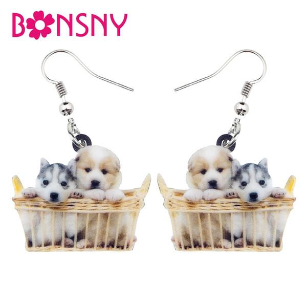 Acrylic Basket Of Husky Shih Tzu Puppy Dog Earrings Dangle Drop New Fashion Cute Animal Jewelry For Women Girl Pet Lovers
