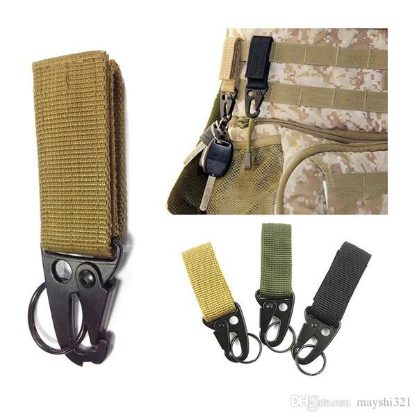 Wholesale Outdoor Gadgets Military Tactical Multifunction Carabiner Clip Clasp Nylon Webbing Buckle Hanging Olecranon Hook Keychain