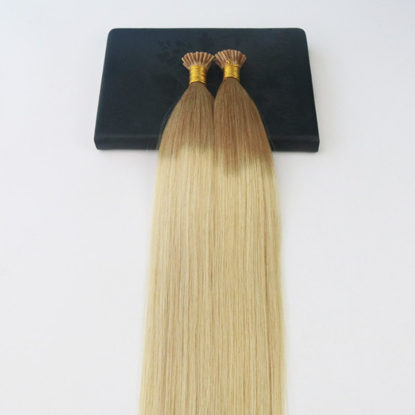 GDouble Drawn Omber #12 Fading to #613 Blonde I-Tip Prebonded Human Hair Extensions Slik Straight 100% Remy Nail Keratin Hair Extensions