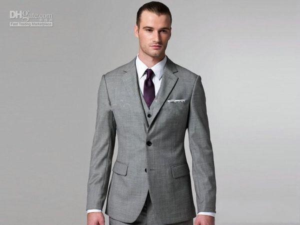 New Custom made Light grey Notch Lapel Groom Tuxedos Groomsmen Men Blazer Wedding Dress Suits Prom Clothing (Jacket+Pants+Vest+Tie) 181