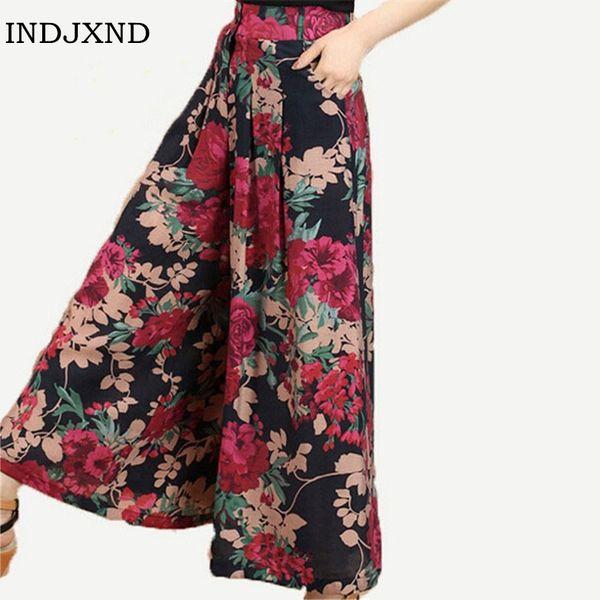 New Calca Feminina Summer Wide Leg Pant Flower Pant Broeken Woman Linen Female Capris Pattern Skirt Trousers Women Culottes K114 S18101606
