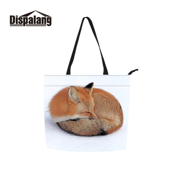 Dispalang New Style Fold Over Shopping Bag for Ladies Promotional Canvas Shopper Print Animal Fox Pattern on Cloth Shoulder Bags