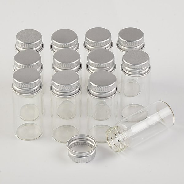 22*50*13mm 10ml Mini Glass Bottles With Metal Cap Empty Small Wishing Bottle Glass Vials Jars 100pcslot