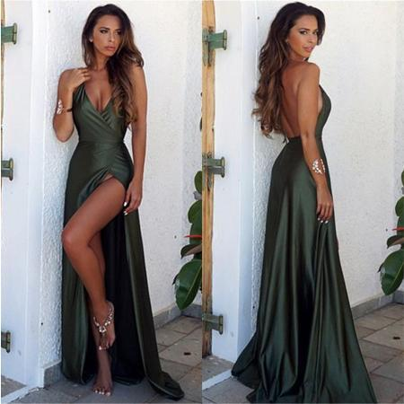 Cheap African Prom Dresses Olive V neck Floor Length Satin Long elegant Formal Evening Gowns Simple robes de soirée pairs holiday Party