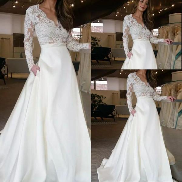 Barato Vestido De Casamento Longo Com Ilusão Mangas Compridas Rendas Ver Através de Saia Superior Com Bolsos Designer A linha De Vestidos De Noiva Do Vestido De Casamento