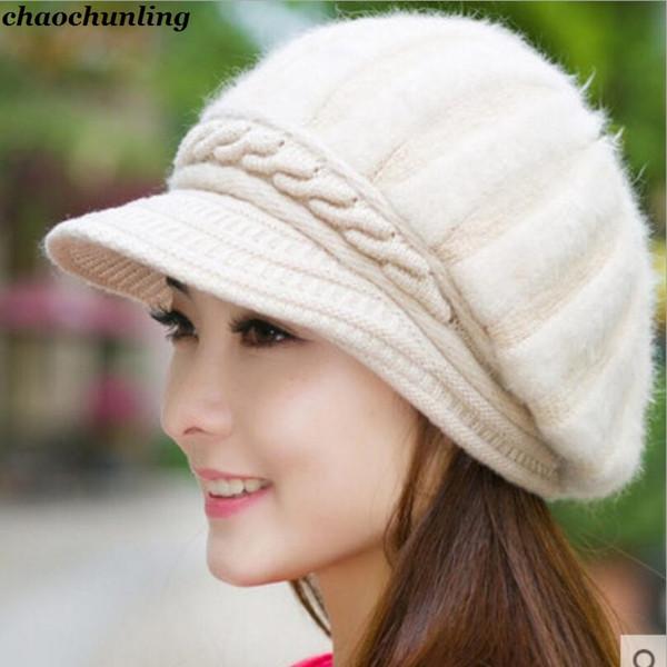 2018 New Korean Fashion Ladies Autumn Winter Kniting Hats Woolen Caps Double Warm Ear Protectors Women Outdoor Use Fur Hats