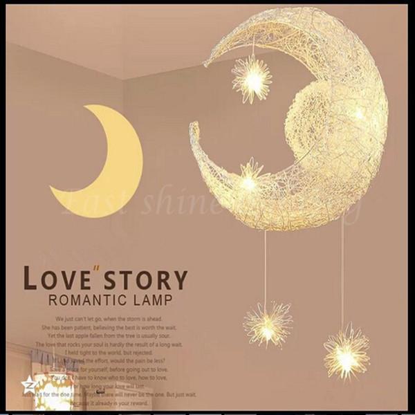 LED G4 ışık kaynağı, Ay Yıldız lambası-modern Çocuk Kid Çocuk Yatak Odası yenilik Sarkıt Avize Işık Tavan Alüminyum
