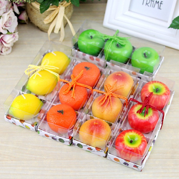 3pcs/lot Fruit Candles Apple Orange Lemon Shaped Scented Birthday Weddings Candles Romantic Party Decoration Christmas New Year Gift