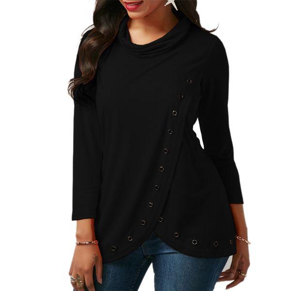 Mulheres Primavera Outono gola fina T-shirt irregular de manga longa mulheres frente aberta solta tops t camisa ocasional
