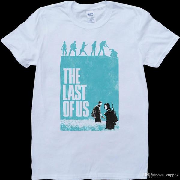The Last Of Us Blue Poster Men's White, Custom Made T-Shirt Funny Printing T Shirts Men Short Sleeve T-shirts