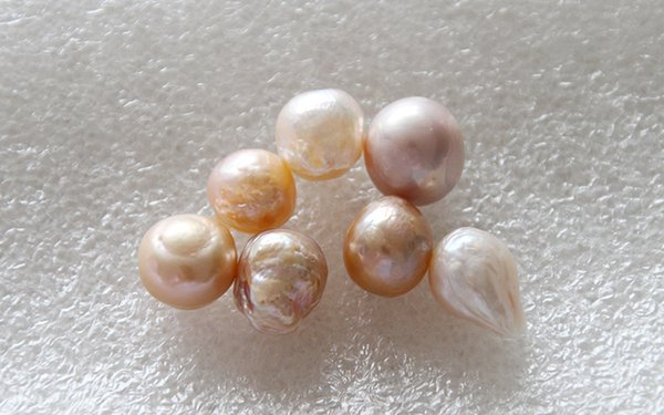 Natural big size giant baroque pearl 11-13mm white peach lavender mixing color weird irregular shape Gorgeous loose pearls without shell