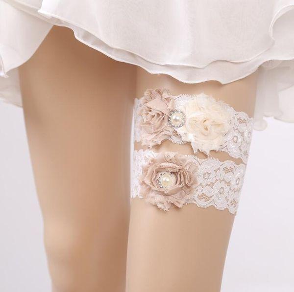 Weiß Spitze Strumpfband Blumen Strumpfband Garter Braut Beinband