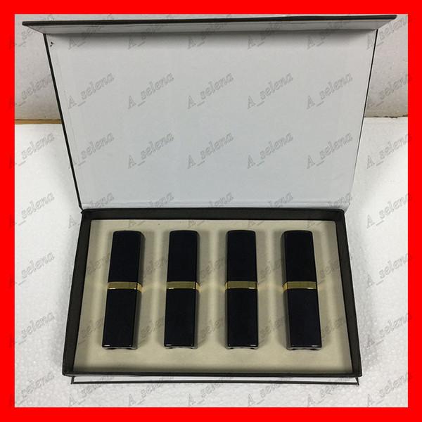 Marca popular Maquillaje de labios Lápiz labial mate 4 color Labios cosmético tubo negro lápiz labial mate 4 unids / set mejor precio de alta calidad