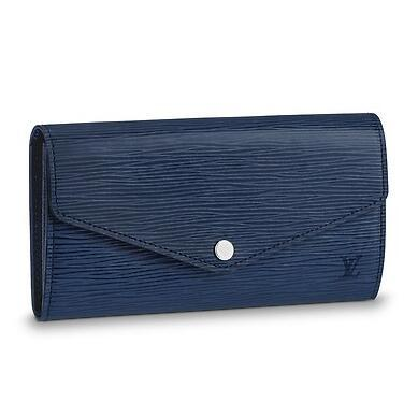 M60585 SARAH WALLET Water ripple blue Real Caviar Lambskin Chain Flap Bag LONG CHAIN WALLETS KEY CARD HOLDERS PURSE CLUTCHES EVENING