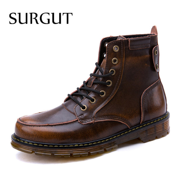 SURGUT New Russian Keep Warm Autumn Winter Men Boots Footwear Top Quality Leather Casual Men Shoes with Plush Fashion Boots