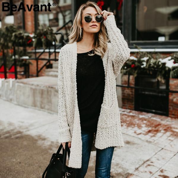 BeAvant Casual tasche in ciniglia lavorato a maglia cardigan donna Morbide maniche lunghe oversize in cardigan 2018 Maglia tricot invernale rosa