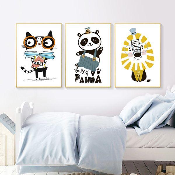 Nordic Style Panda Cute Animal Panda Cartoon Lion Nursery Artwork Picture Posters Hd Prints Cuadros Living Room Home Decoration