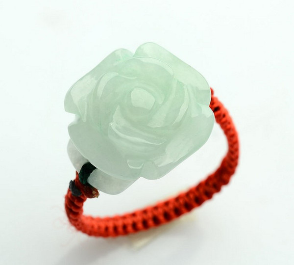 Natural Burmese jade a goods women's hand-woven rose jade green ring