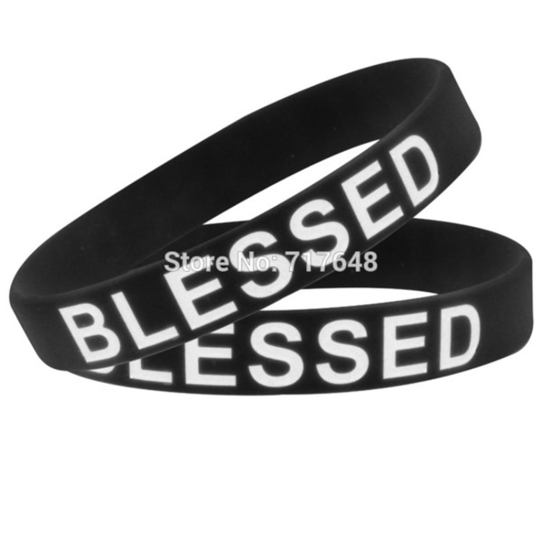 1pc black and white blessed wristband silicone bracelets