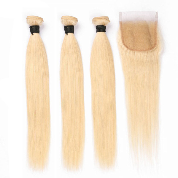 Brazilian Remy Hair Weaves Straight #613 Human Hair Bundles with 4X4 Closure pure blonde Colored Hair Weft Extensions