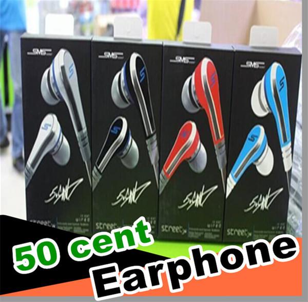 mini 50 Cent Auricolari SMS Audio Street da 50 Cent Cuffie In-Ear Cuffie Prezzo di fabbrica per Mp3 Mp4 Tablet per telefoni cellulari