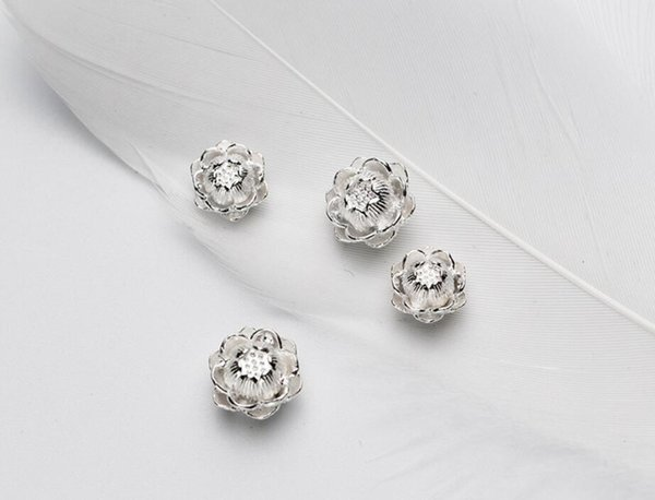 1 Piece 925 Sterling Silver Fashion Jewelry Lotus Flower Spacer Charm Bead DIY Jewelry A2001