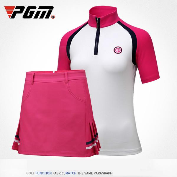 2018 PGM Women's T-shirt Golf Apparel Ladies Short Sleeve Tops Summer T Shirt Breathable Slim lady Sportswear size S-XL