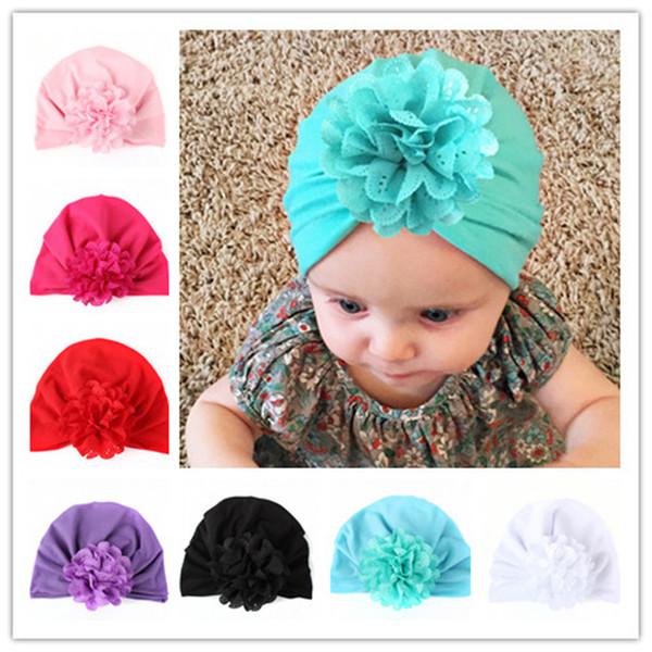 Baby Hats Bohemiah Flower Caps Girls Knot India Turban Kids Fashion Head Wraps Toddler Winter Beanie Xmas Headwear Photography Props B11