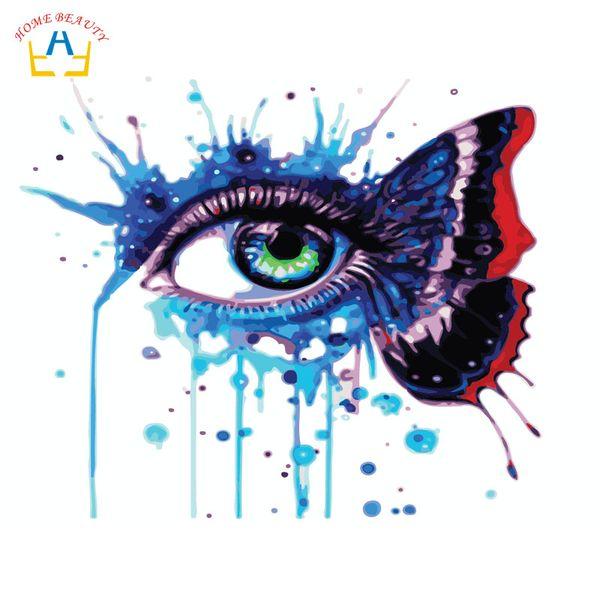 Diy modüler resimler ile tuval üzerine sayılar akrilik boyalar ev dekor için tuval üzerine çizim kelebek göz resimleri W6737