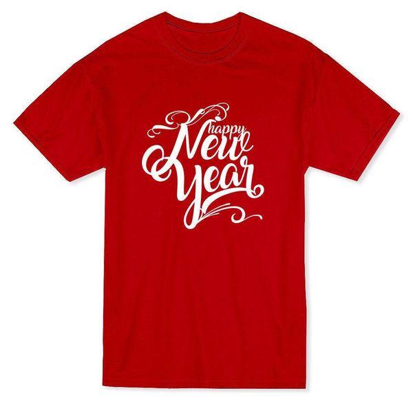 """Happy New Year"" Cool Swirly Quote Men's T-shirt Fashion Design Free Shipping Cartoon Character Men T Shirts Short"
