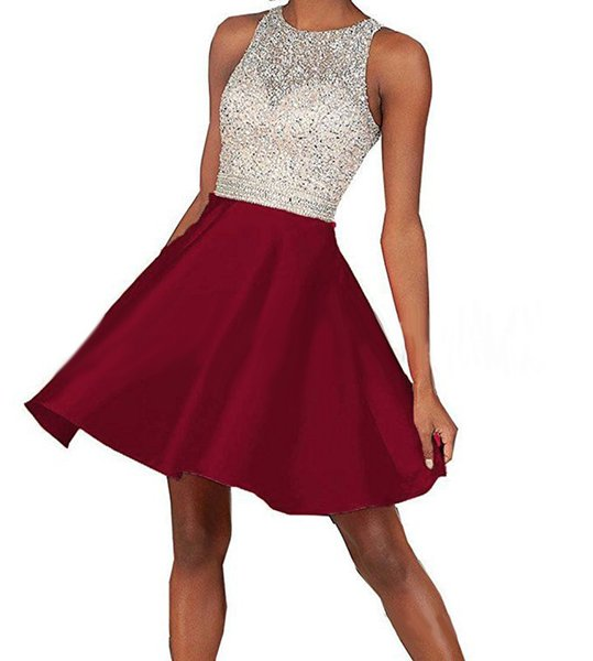top popular Shiny Beaded Crystal Corset Short Homecoming Dress Burgundy Chiffon Mini Cocktail Party Gowns Fashion Junior Party Gowns A Line 2020