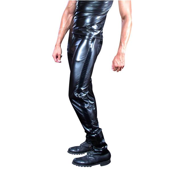 Man Leather Pants Men Slim PU Leather Trousers High Elastic Man Motorcycle Pants Street Pole Dance Latex Leggings Streetwear NEW