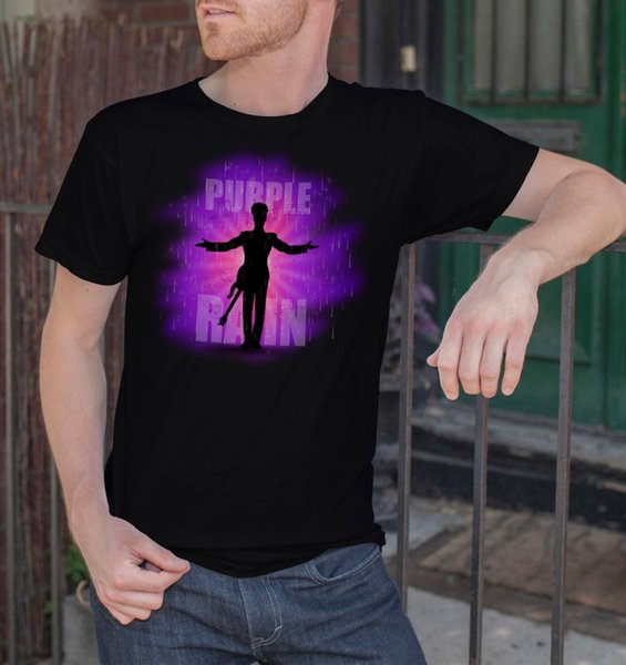 """Short Sleeves Cotton T Shirt Man Clothing Prince Men Black T-Shirt Purple Rain Rock Legend R.I.P Tee Shirt SIZE S-3XL"
