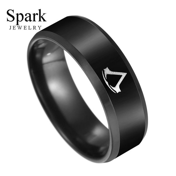 8mm Punk Titanium Steel Assassin Creed Ring Men Creative Black Round Wedding Band Party Gift Size 6-12