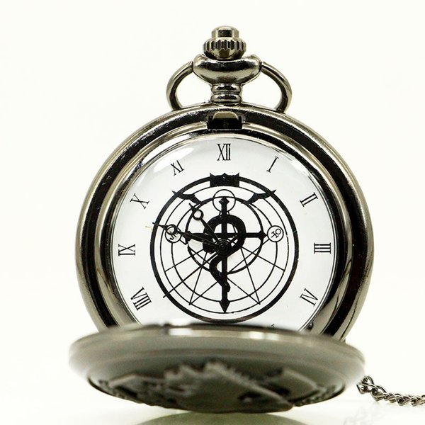 Antique New Bronze Retro Fullmetal Alchemist reloj de bolsillo Edward Elric Cartoon Anime cuarzo relojes de regalo