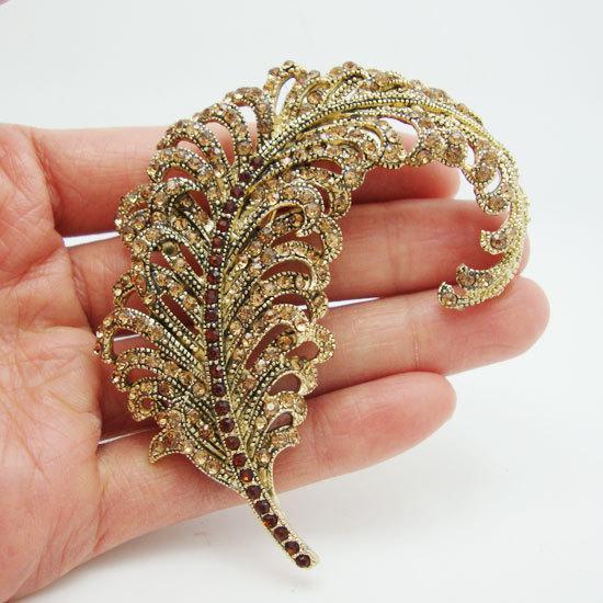 Joyas de moda Broches Broche de diamantes de imitación Plumas de pavo real clásicas Broche de broche de cristal de diamantes de imitación de tono dorado marrón Envío gratis para mujer