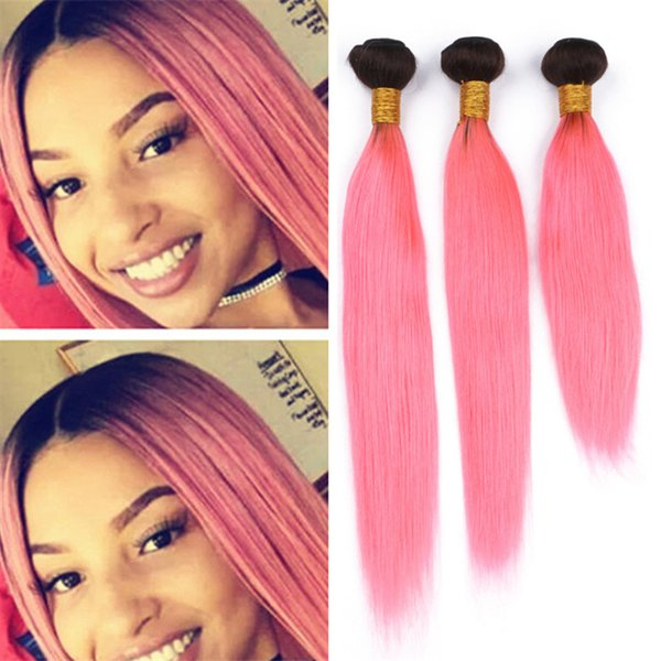 8A Brazilian Ombre Pink Virgin Hair Bundles Silky Straight Black to Light Pink Human Hair Extensions 2 Tone 1B Pink Hair Extensions