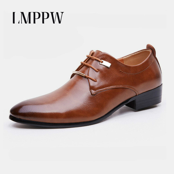 Cheap Black Brown Pointed Men Leather Dress Shoes Business Formal Men Oxford Shoes Breathable Flats Casual Leather