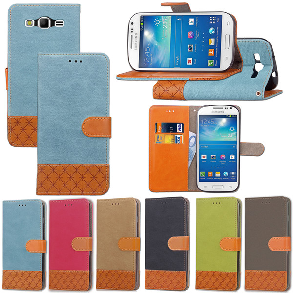 PU Leaf Leather Flip Fold Stand Wallet Case with [ID&Credit Card Slot] for Samsung Galaxy S3 S4 S5 Mini