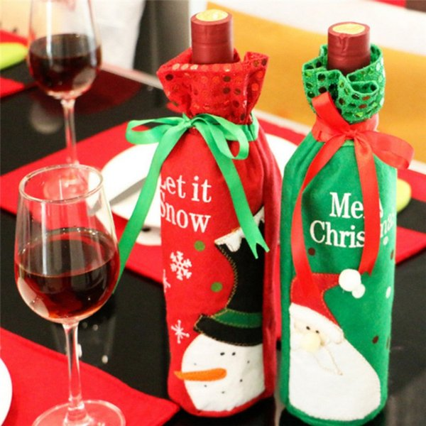 New Year Santa Claus Design Wine Bottle Cover Red Wine Gift Bags Pretty Christmas Decoration Supplies Xmas home ornaments