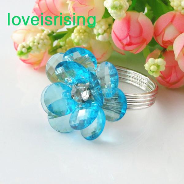Wholesale- Wedding Supplies--High Quality--50pcs Navy Blue Acrylic Beads Vintage Style Wedding Napkin Rings Napkin holder