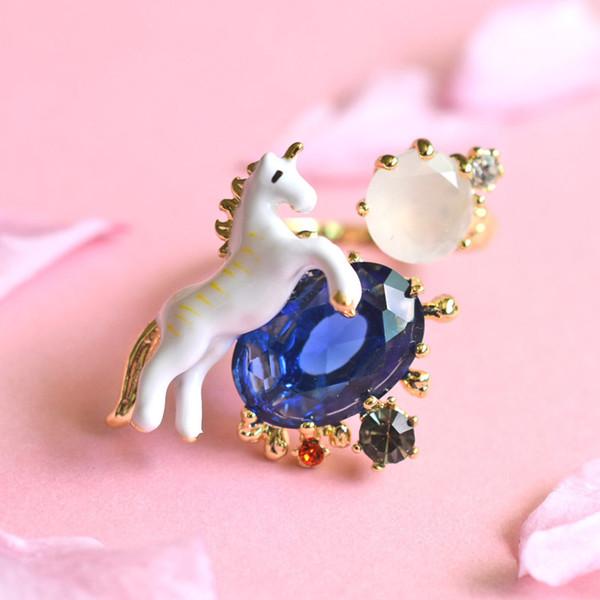 Wholesale Gem Unicorn Rings For Women Brand Designer 18K Gold Plated Jewelry Enamel Glaze Open Rings