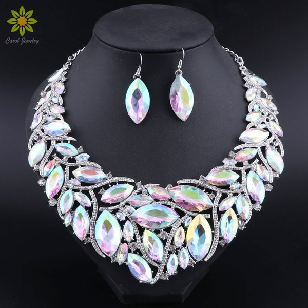 African Beads Promotion Wedding Jewelry AB Color Crystal Necklace And Earrings Sets For Women Bridal Jewelry Sets