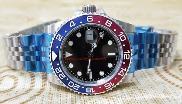2018 Basileia Mundo 40mm GMT 126710 Pepsi Pepsi Vermelho e Azul Vermelho e Azul Cerâmica Fivela Dobrável Original Relógio Automático Cerachrom dos homens