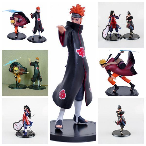 2 pcs / ensemble Naruto Action PVC Figure Uzumaki Naruto Orochimaru Uchiha Sasuke Hatake Kakashi Naruto Mini Enfants Jouets Party Favor AAA1165