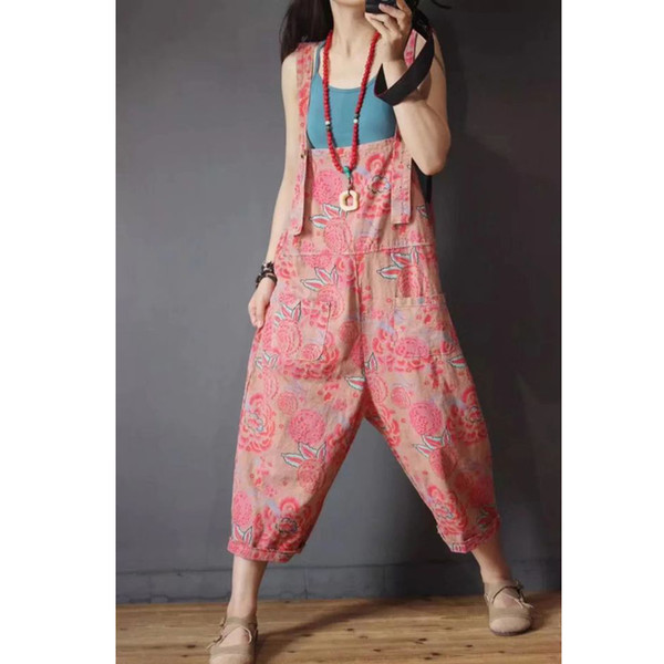 Womens Denim Jumpsuits Rompers Overalls Body for Ladies Print Wide Leg Loose Plus Size Oversized Pink Cute Casual Fashion 80461