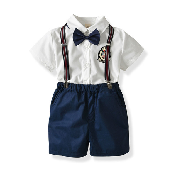 Kids Clothes Baby Summer Clothing Toddler Boy Clothes Set Boys School Uniform Bow Tie Gentleman Short Sleeve Shirt+Strap Shorts 1-6Years