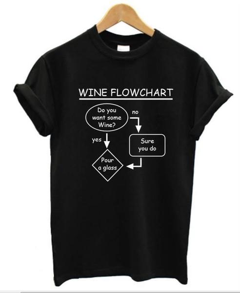 Vino Diagrama de flujo Camiseta Hombre Mujer Divertido Bebida Camiseta