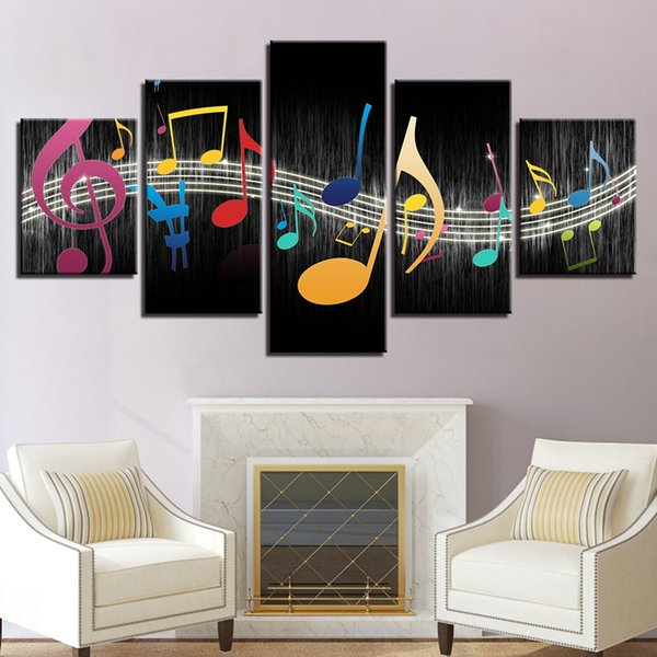 Modular Canvas Pictures Living Room Wall Art Home Decor Framework 5 Pieces Color Music Notes Paintings Modern HD Prints Poster